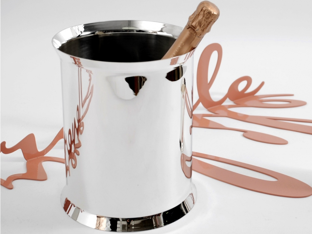 STAINLESS STEEL AND SILVER PLATED CHAMPAGNE BUCKET - DESIGNED BY CHARLES SCHUMANN